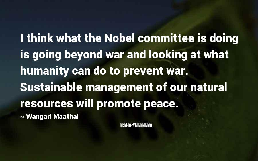 Wangari Maathai Sayings: I think what the Nobel committee is doing is going beyond war and looking at
