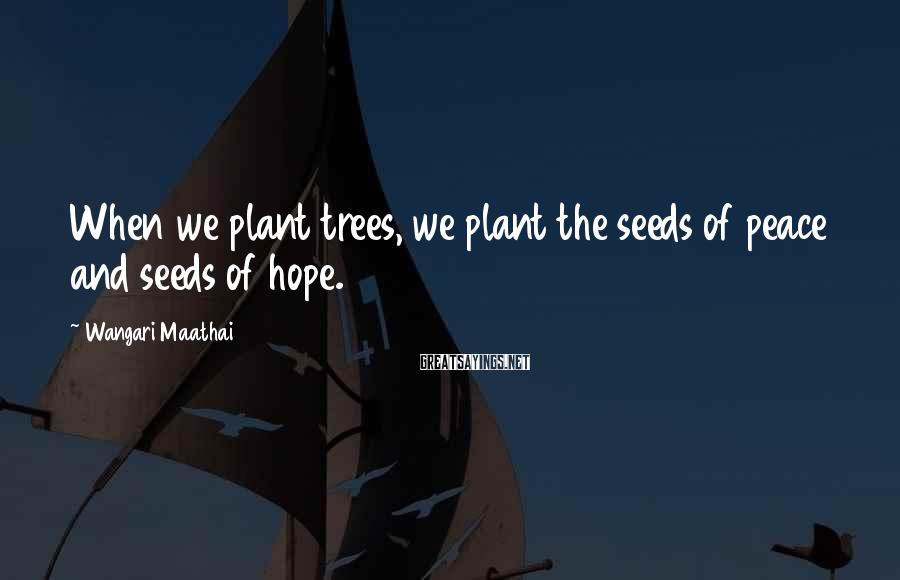 Wangari Maathai Sayings: When we plant trees, we plant the seeds of peace and seeds of hope.