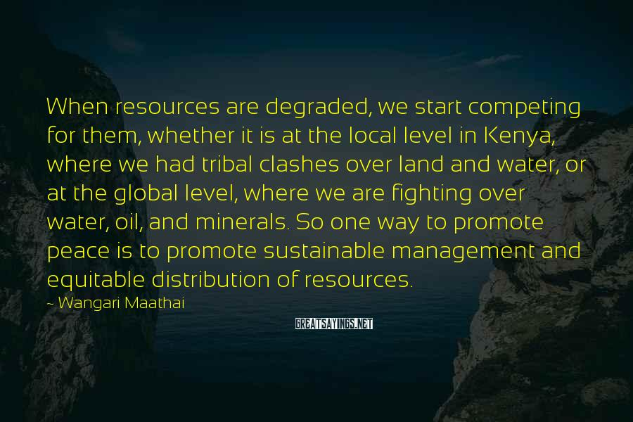Wangari Maathai Sayings: When resources are degraded, we start competing for them, whether it is at the local