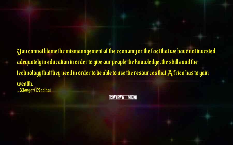 Wangari Maathai Sayings: You cannot blame the mismanagement of the economy or the fact that we have not