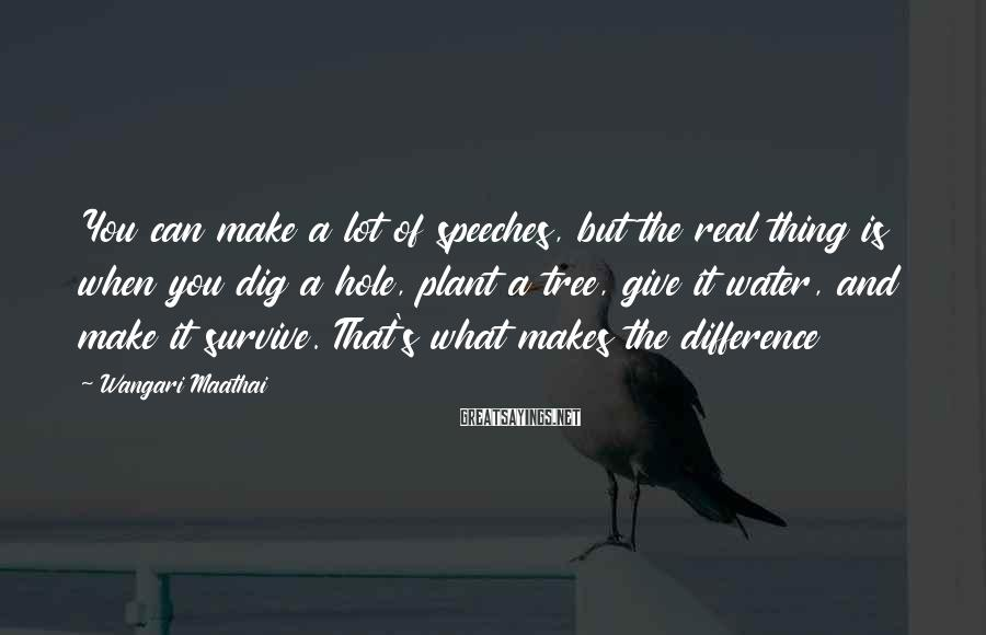 Wangari Maathai Sayings: You can make a lot of speeches, but the real thing is when you dig
