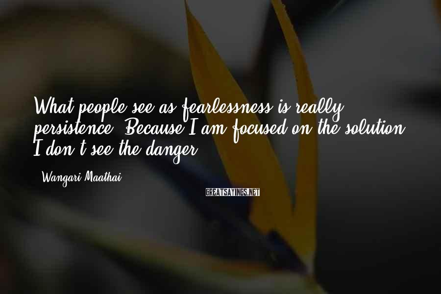 Wangari Maathai Sayings: What people see as fearlessness is really persistence. Because I am focused on the solution,