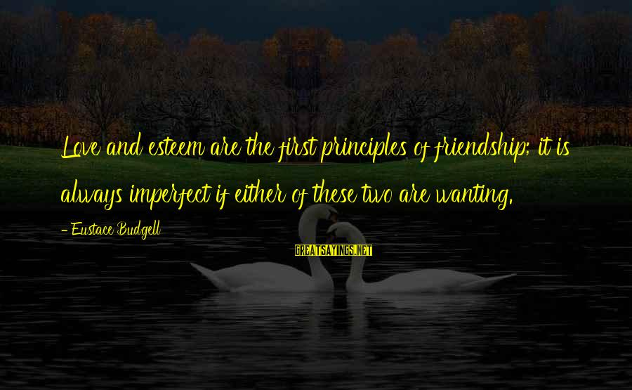 Wanting More Than Friendship Sayings By Eustace Budgell: Love and esteem are the first principles of friendship; it is always imperfect if either