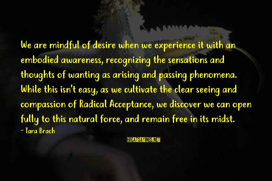 Wanting To Open Up Sayings By Tara Brach: We are mindful of desire when we experience it with an embodied awareness, recognizing the