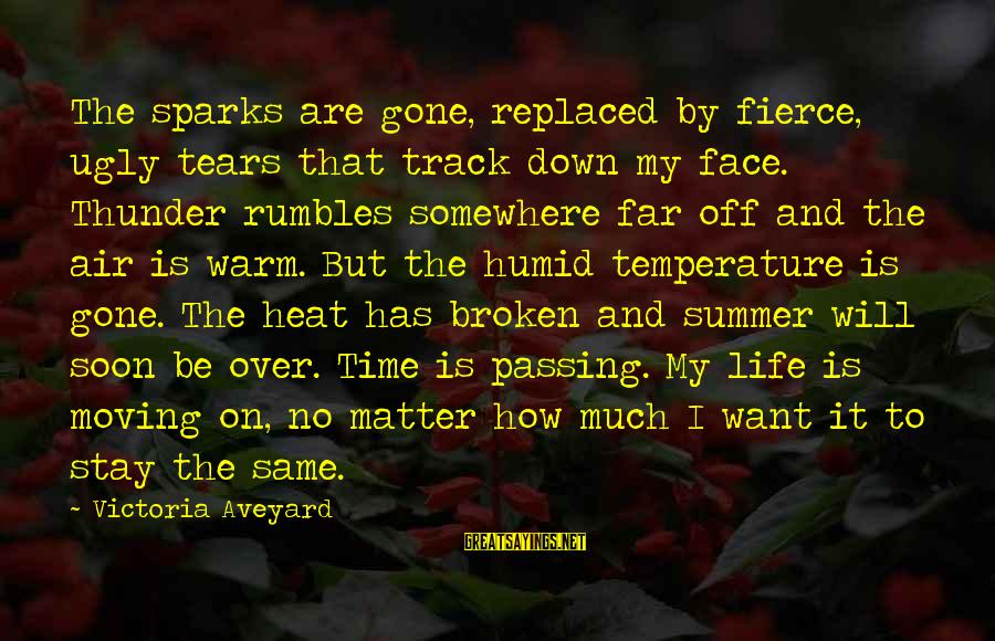 Warm Temperature Sayings By Victoria Aveyard: The sparks are gone, replaced by fierce, ugly tears that track down my face. Thunder