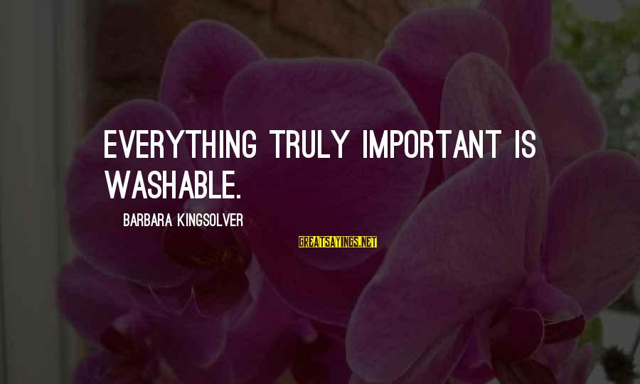 Washable Sayings By Barbara Kingsolver: Everything truly important is washable.
