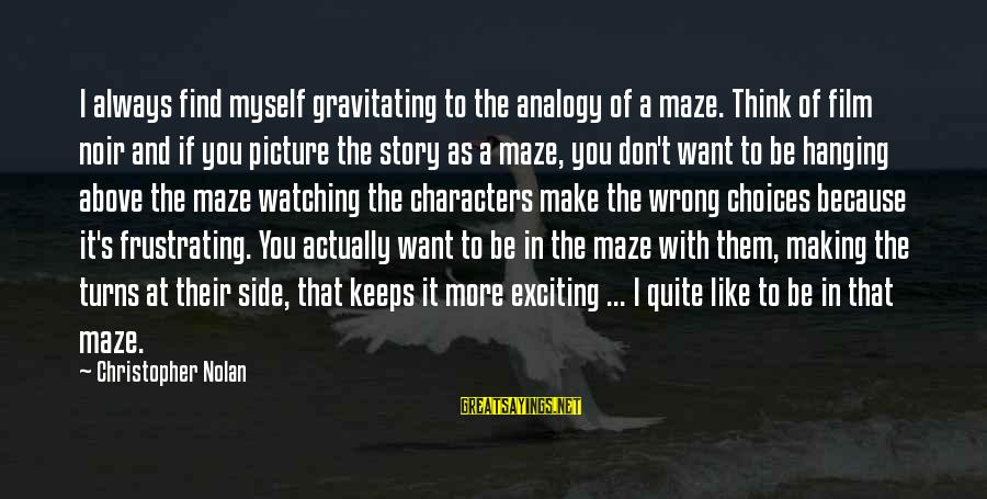 Watching From Above Sayings By Christopher Nolan: I always find myself gravitating to the analogy of a maze. Think of film noir