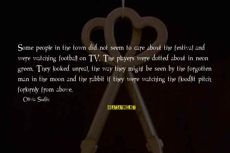 Watching From Above Sayings By Olivia Sudjic: Some people in the town did not seem to care about the festival and were