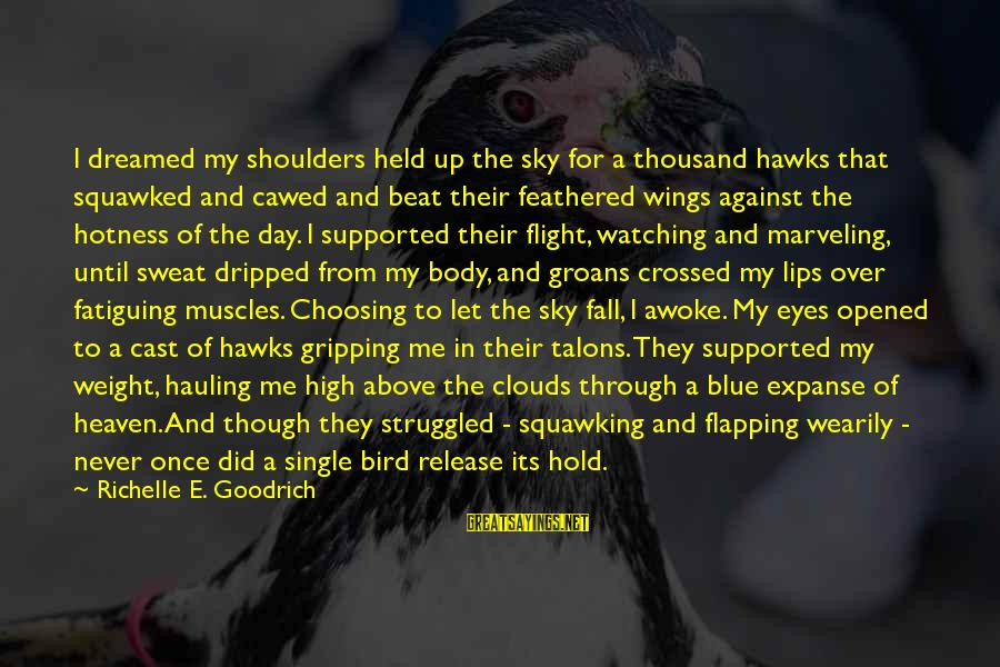 Watching From Above Sayings By Richelle E. Goodrich: I dreamed my shoulders held up the sky for a thousand hawks that squawked and
