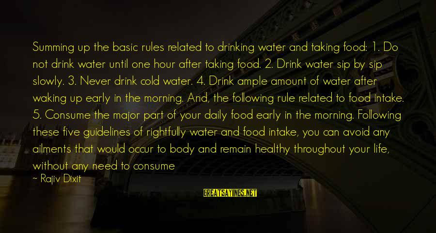 Water Intake Sayings By Rajiv Dixit: Summing up the basic rules related to drinking water and taking food: 1. Do not
