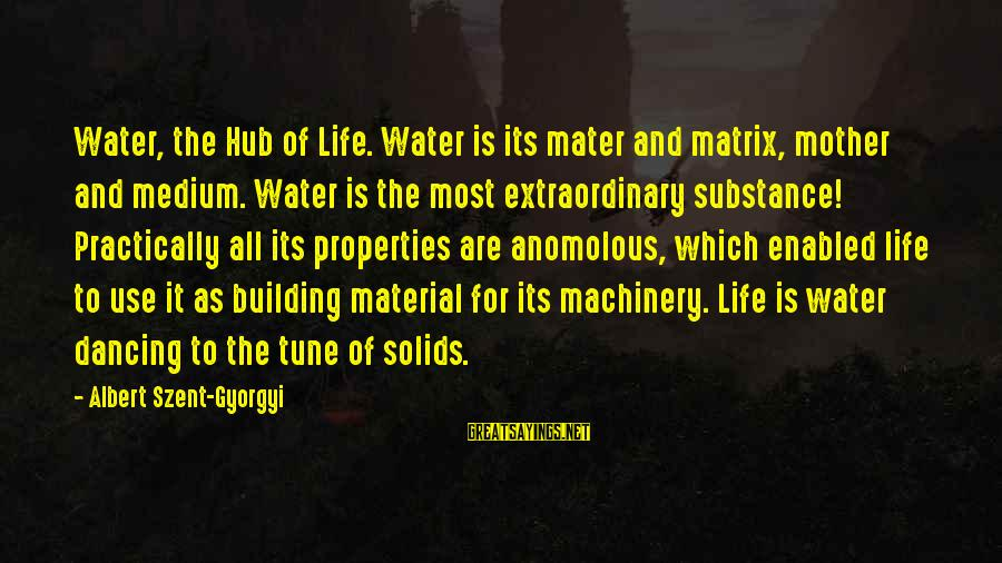 Water Properties Sayings By Albert Szent-Gyorgyi: Water, the Hub of Life. Water is its mater and matrix, mother and medium. Water