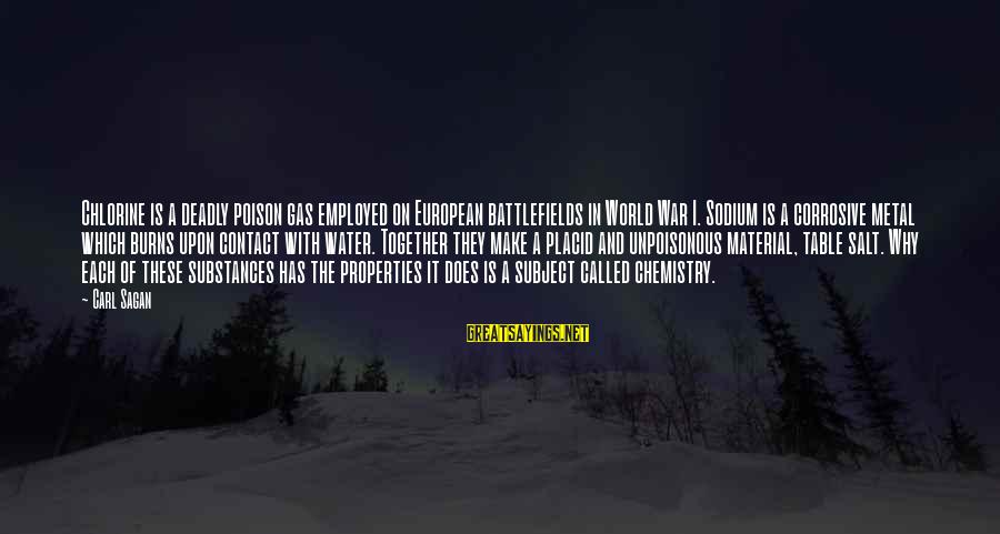 Water Properties Sayings By Carl Sagan: Chlorine is a deadly poison gas employed on European battlefields in World War I. Sodium