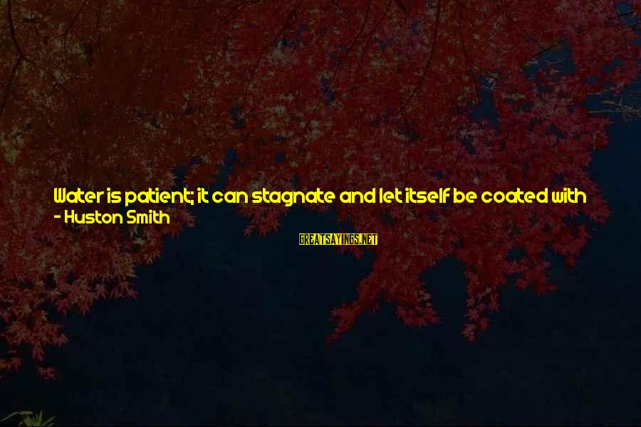 Water Properties Sayings By Huston Smith: Water is patient; it can stagnate and let itself be coated with scum if need