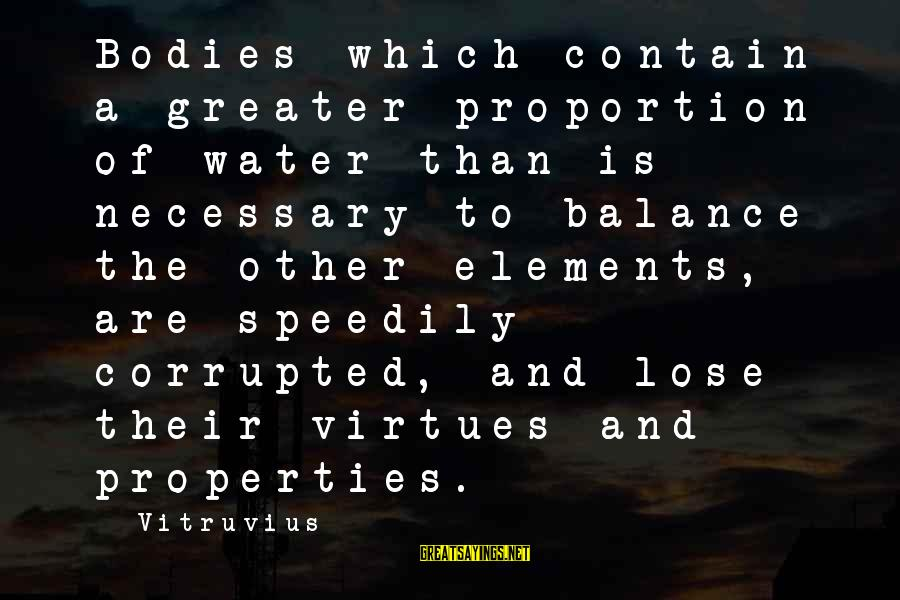 Water Properties Sayings By Vitruvius: Bodies which contain a greater proportion of water than is necessary to balance the other
