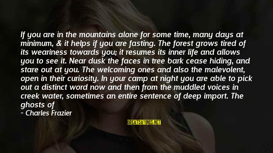 Water Serenity Sayings By Charles Frazier: If you are in the mountains alone for some time, many days at minimum, &