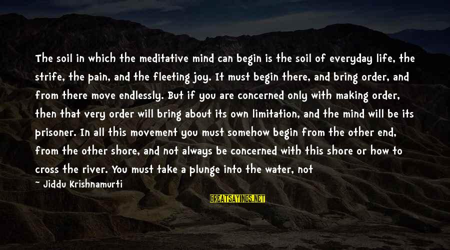 Water Serenity Sayings By Jiddu Krishnamurti: The soil in which the meditative mind can begin is the soil of everyday life,