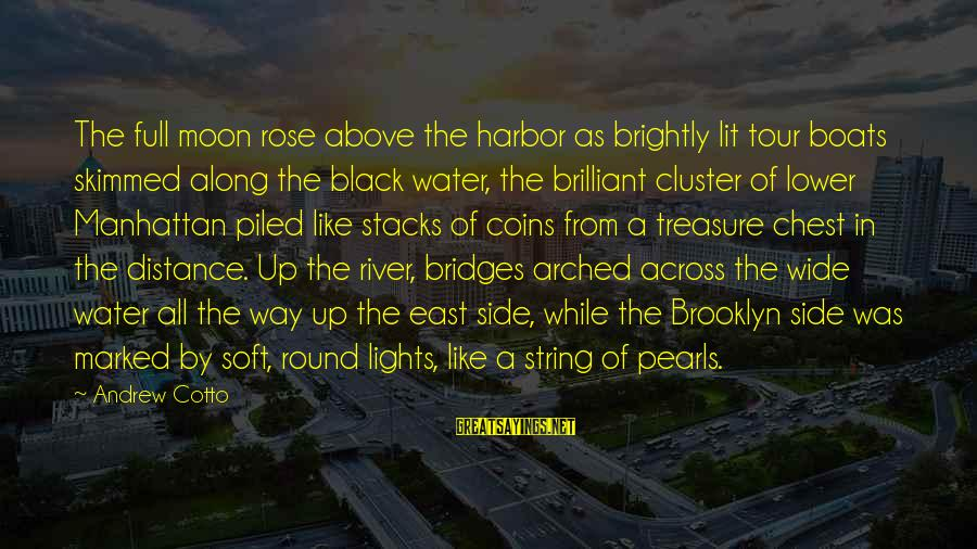Water View Sayings By Andrew Cotto: The full moon rose above the harbor as brightly lit tour boats skimmed along the