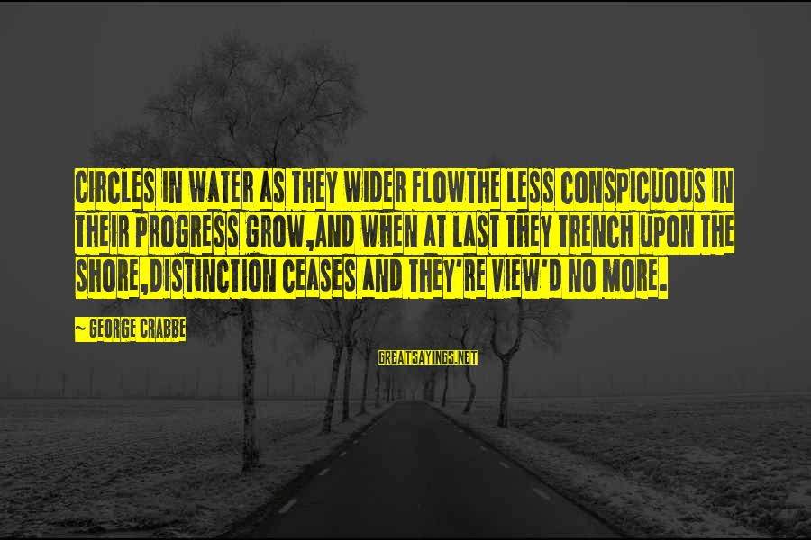 Water View Sayings By George Crabbe: Circles in water as they wider flowThe less conspicuous in their progress grow,And when at