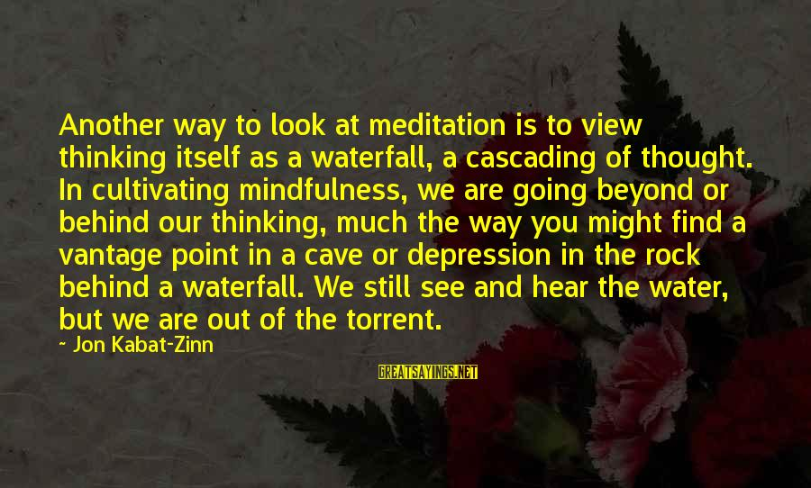 Water View Sayings By Jon Kabat-Zinn: Another way to look at meditation is to view thinking itself as a waterfall, a