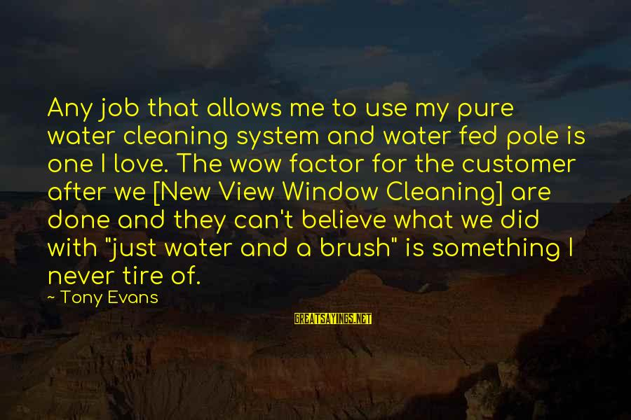 Water View Sayings By Tony Evans: Any job that allows me to use my pure water cleaning system and water fed