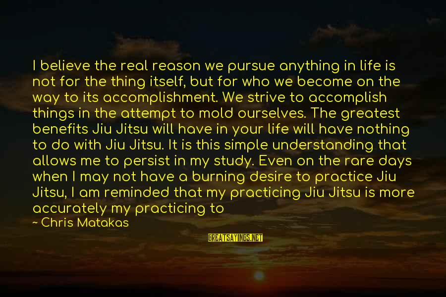 Way Of Mastery Sayings By Chris Matakas: I believe the real reason we pursue anything in life is not for the thing