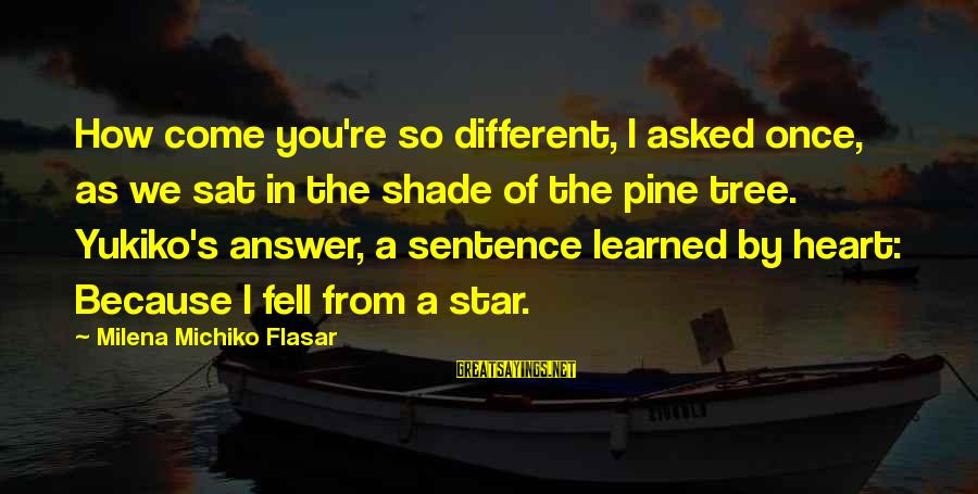We Fell In Love Sayings By Milena Michiko Flasar: How come you're so different, I asked once, as we sat in the shade of