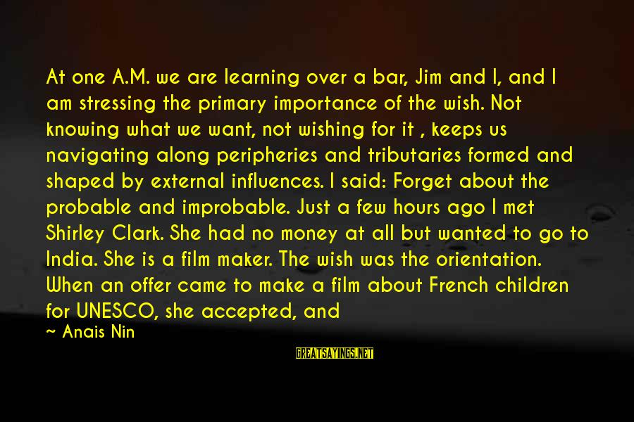 We Just Met But Sayings By Anais Nin: At one A.M. we are learning over a bar, Jim and I, and I am