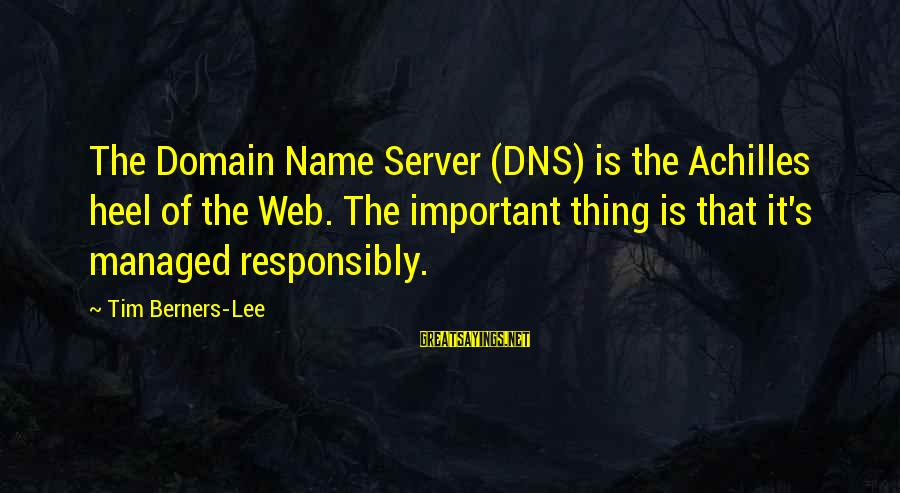 Web Domain Sayings By Tim Berners-Lee: The Domain Name Server (DNS) is the Achilles heel of the Web. The important thing