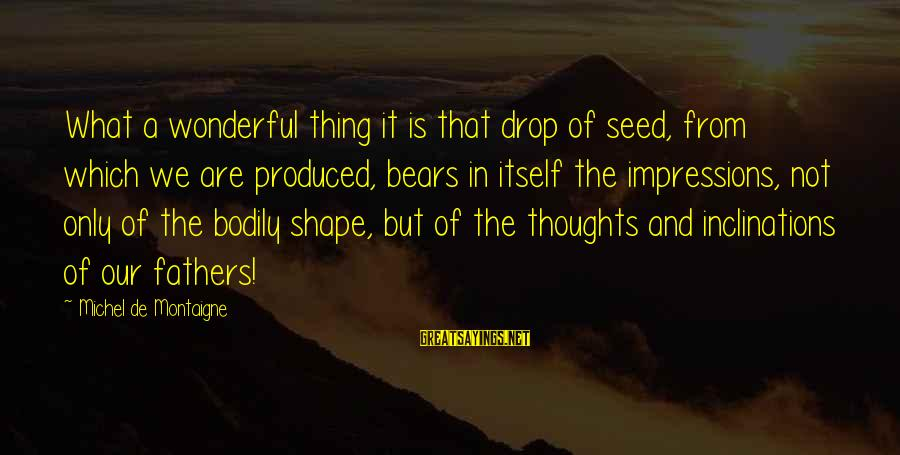 We'de Sayings By Michel De Montaigne: What a wonderful thing it is that drop of seed, from which we are produced,