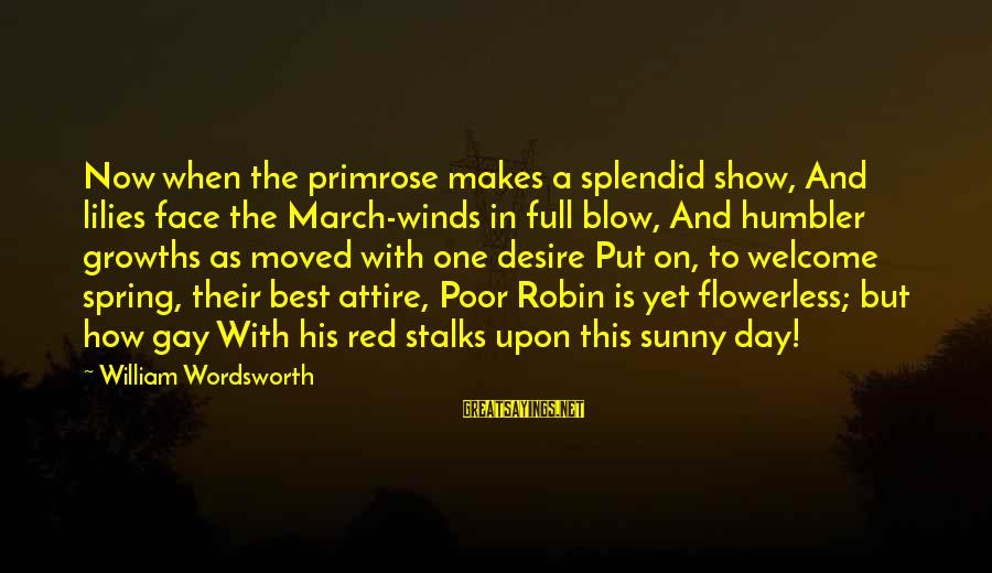 Welcome March Sayings By William Wordsworth: Now when the primrose makes a splendid show, And lilies face the March-winds in full