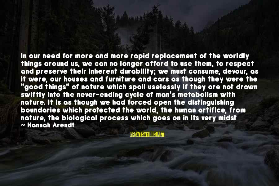 Well Protected Sayings By Hannah Arendt: In our need for more and more rapid replacement of the worldly things around us,