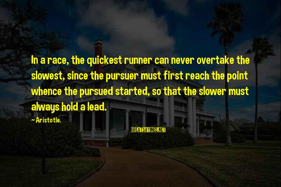 Western Gunfighter Sayings By Aristotle.: In a race, the quickest runner can never overtake the slowest, since the pursuer must