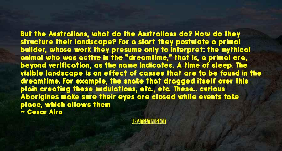 What Are Australian Sayings By Cesar Aira: But the Australians, what do the Australians do? How do they structure their landscape? For