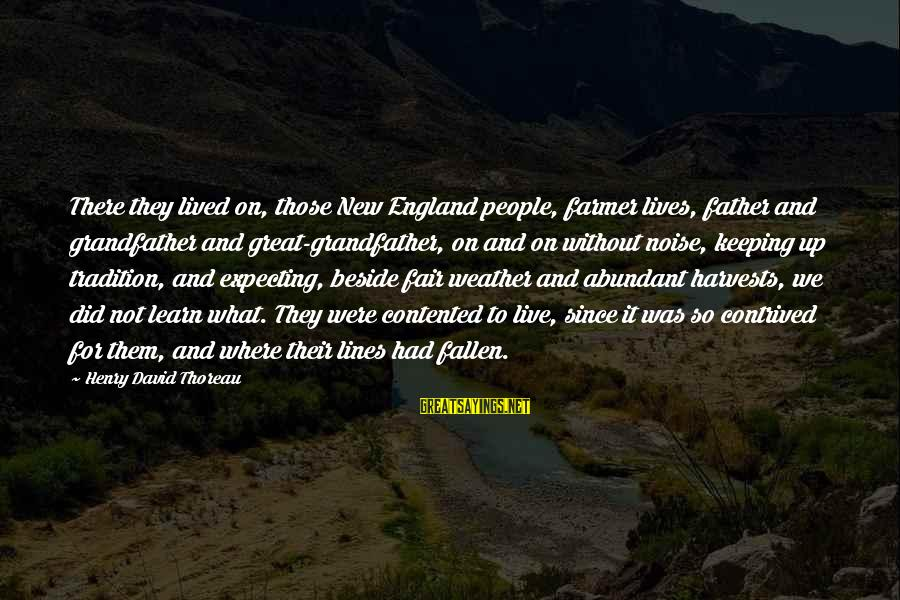 What Did We Learn Sayings By Henry David Thoreau: There they lived on, those New England people, farmer lives, father and grandfather and great-grandfather,