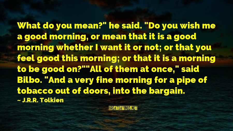 """What Do You Want Me To Do Sayings By J.R.R. Tolkien: What do you mean?"""" he said. """"Do you wish me a good morning, or mean"""