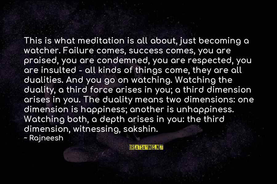 What Happiness Means Sayings By Rajneesh: This is what meditation is all about, just becoming a watcher. Failure comes, success comes,