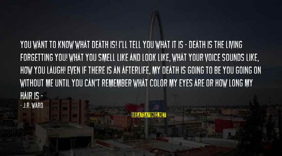 What If I Like You Sayings By J.R. Ward: You want to know what death is! I'll tell you what it is - death
