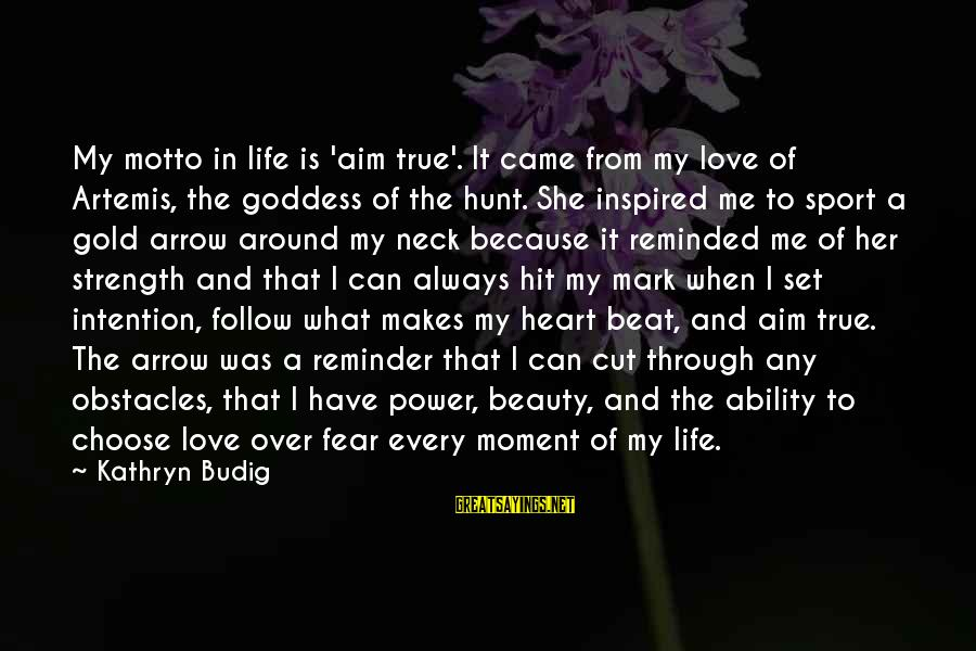 What Is Beauty Sayings By Kathryn Budig: My motto in life is 'aim true'. It came from my love of Artemis, the