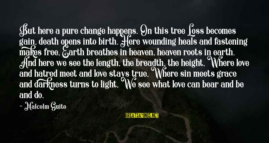 What Love Can Do Sayings By Malcolm Guite: But here a pure change happens. On this tree Loss becomes gain, death opens into