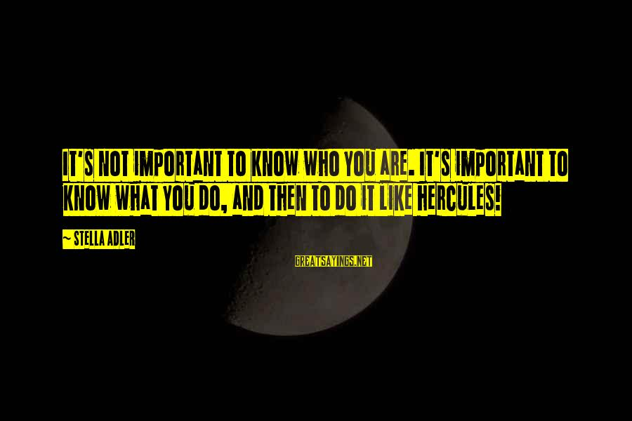 What You Like To Do Sayings By Stella Adler: It's not important to know who you are. It's important to know what you do,