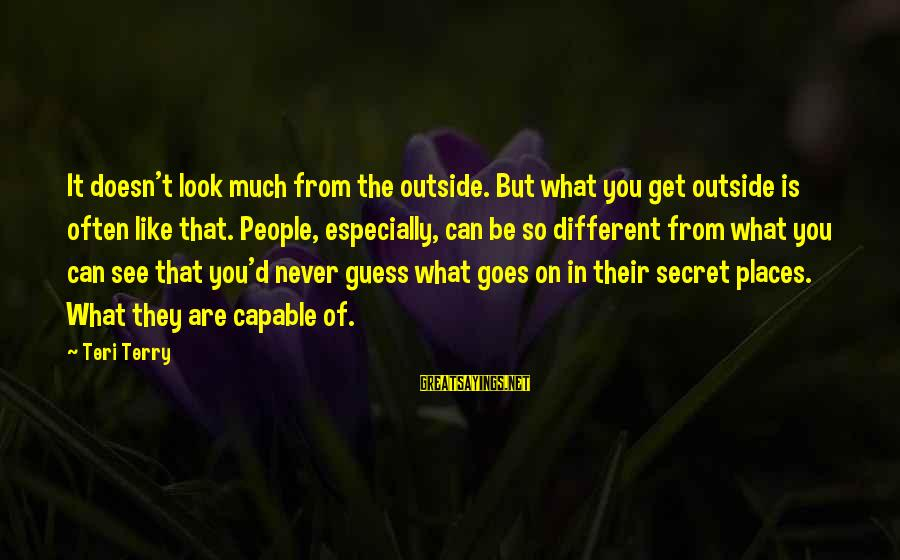 What You See On The Outside Sayings By Teri Terry: It doesn't look much from the outside. But what you get outside is often like