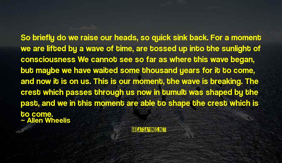 Wheelis Sayings By Allen Wheelis: So briefly do we raise our heads, so quick sink back. For a moment we