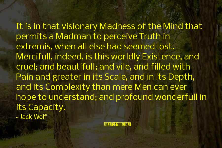 When All Hope Is Lost Sayings By Jack Wolf: It is in that visionary Madness of the Mind that permits a Madman to perceive