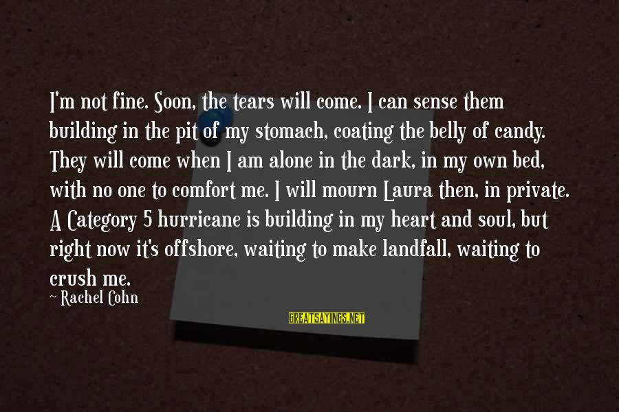When I Am Alone Sayings By Rachel Cohn: I'm not fine. Soon, the tears will come. I can sense them building in the