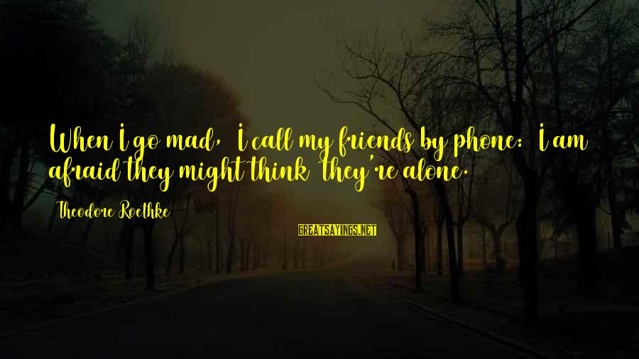 When I Am Alone Sayings By Theodore Roethke: When I go mad, I call my friends by phone: I am afraid they might