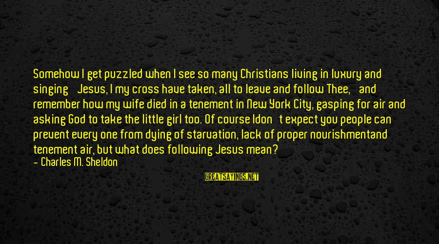 When I Leave Sayings By Charles M. Sheldon: Somehow I get puzzled when I see so many Christians living in luxury and singing