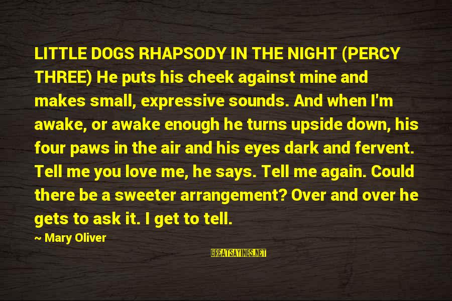 When It Gets Dark Sayings By Mary Oliver: LITTLE DOGS RHAPSODY IN THE NIGHT (PERCY THREE) He puts his cheek against mine and