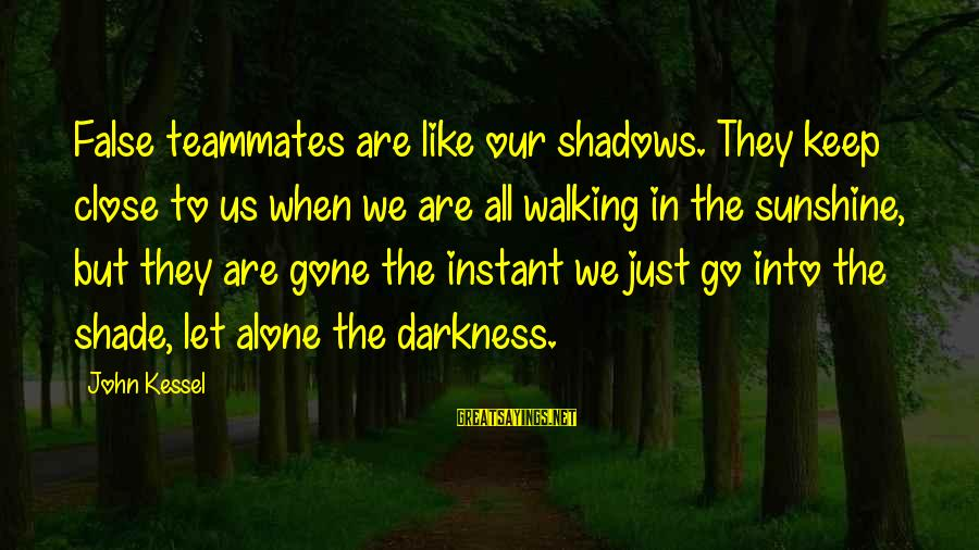 When We Are Alone Sayings By John Kessel: False teammates are like our shadows. They keep close to us when we are all