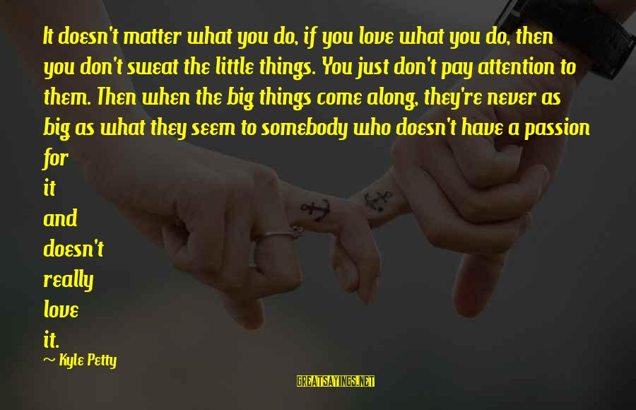 When You Just Don't Matter Sayings By Kyle Petty: It doesn't matter what you do, if you love what you do, then you don't