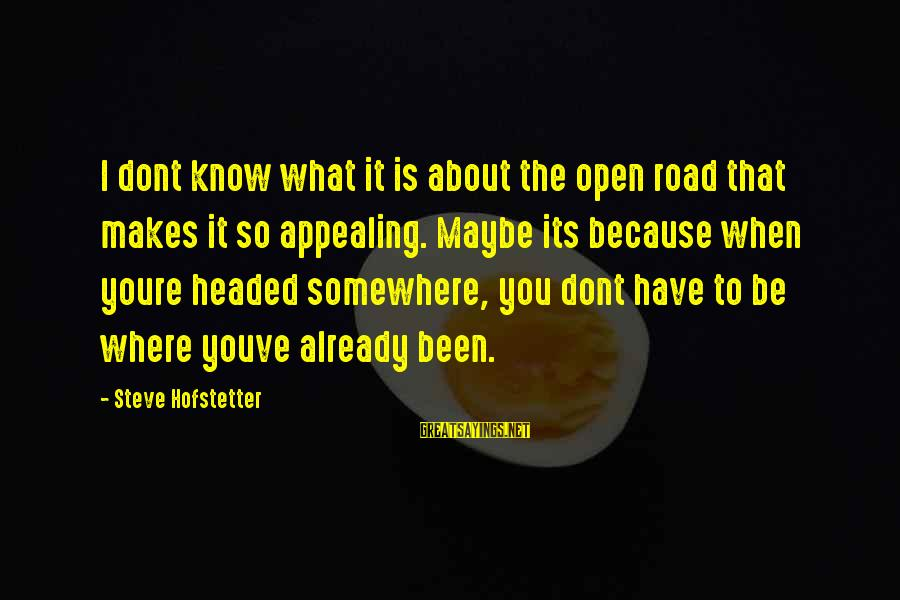 Where You Have Been Sayings By Steve Hofstetter: I dont know what it is about the open road that makes it so appealing.